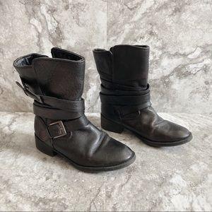 Steve Madden Ellle Black Leather Combat Ankle Boot